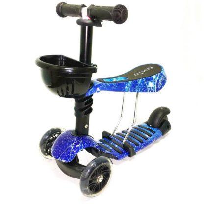 Детский трёхколёсный самокат-беговел 3 в 1 с сиденьем и светящимися колёсами 21st Scooter 3 in 1 Print Космос синий - 1