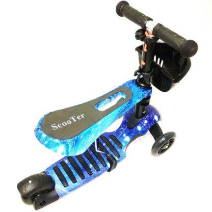 Детский трёхколёсный самокат-беговел 3 в 1 с сиденьем и светящимися колёсами 21st Scooter 3 in 1 Print Космос синий - 3