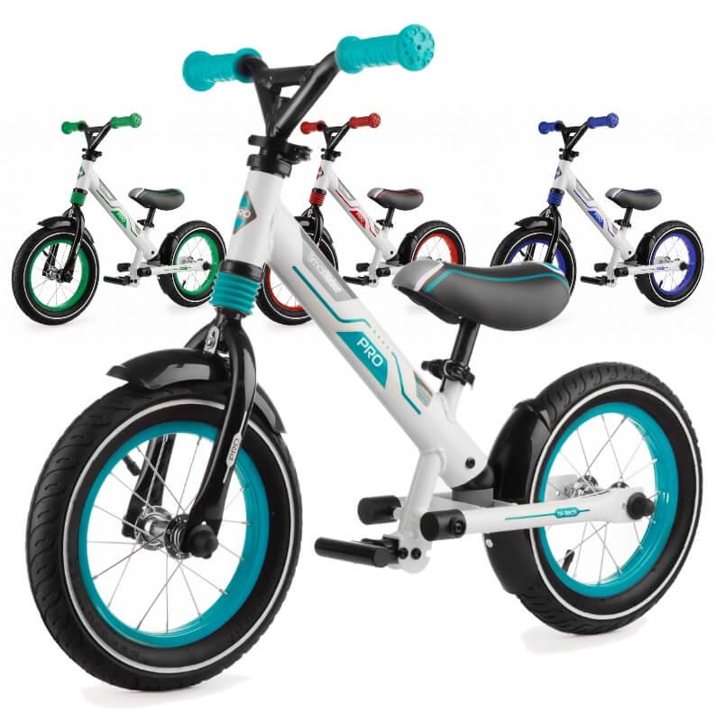 Алюминиевый беговел с надувными колёсами, 2 амортизатора, 2 подножки Small Rider Roadster Pro Аква, Зелёный, Красный, Синий
