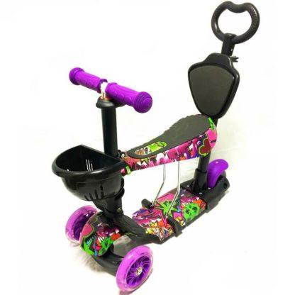 Самокат 5 в 1 с сиденьем, родительской ручкой, подставкой для ног и светящимися колёсами 21st Scooter 5 in 1 Print Хип-Хоп Фиолетовый - 1