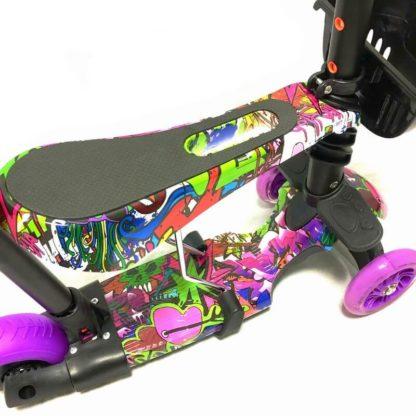 Самокат 5 в 1 с сиденьем, родительской ручкой, подставкой для ног и светящимися колёсами 21st Scooter 5 in 1 Print Хип-Хоп Фиолетовый - 3