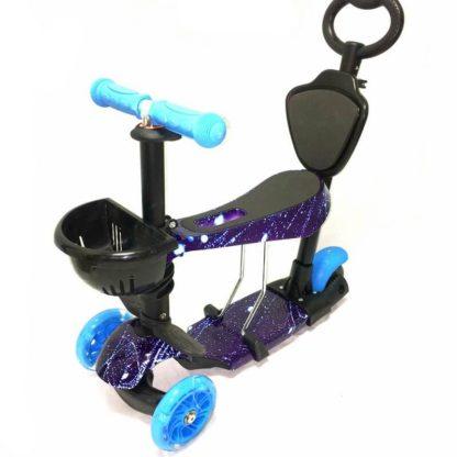 Самокат 5 в 1 с сиденьем, родительской ручкой, подставкой для ног и светящимися колёсами 21st Scooter 5 in 1 Print Космос Голубой - 1