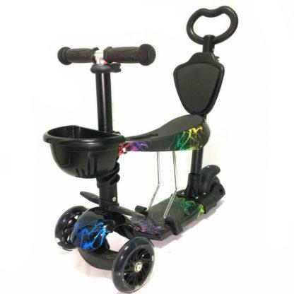 Самокат 5 в 1 с сиденьем, родительской ручкой, подставкой для ног и светящимися колёсами 21st Scooter 5 in 1 Print Молнии - 1