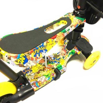 Самокат 5 в 1 с сиденьем, родительской ручкой, подставкой для ног и светящимися колёсами 21st Scooter 5 in 1 Print Покемоны - 3