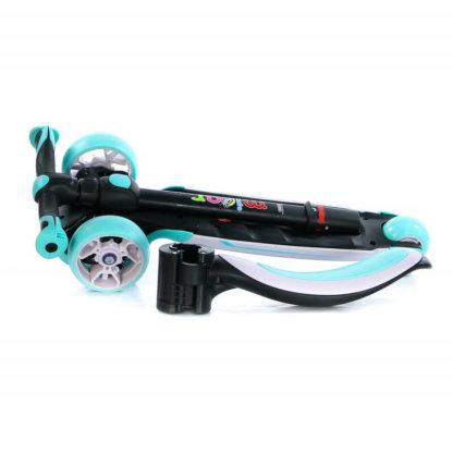 Трёхколёсный самокат с сиденьем и светящимися колёсами Scooter Micar Moby 3 в 1 Голубой, для детей от 1 до 8 лет - 2