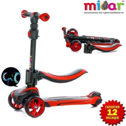 Трёхколёсный самокат с сиденьем и светящимися колёсами Scooter Micar Moby 3 в 1 Красный, для детей от 1 до 8 лет - 1