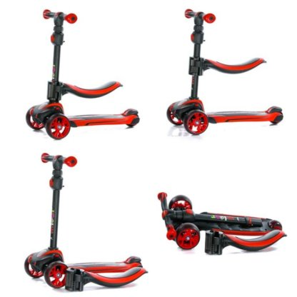 Трёхколёсный самокат с сиденьем и светящимися колёсами Scooter Micar Moby 3 в 1 Красный, для детей от 1 до 8 лет - 12