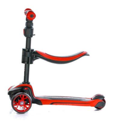 Трёхколёсный самокат с сиденьем и светящимися колёсами Scooter Micar Moby 3 в 1 Красный, для детей от 1 до 8 лет - 2