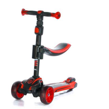 Трёхколёсный самокат с сиденьем и светящимися колёсами Scooter Micar Moby 3 в 1 Красный, для детей от 1 до 8 лет - 4