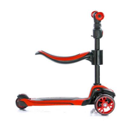 Трёхколёсный самокат с сиденьем и светящимися колёсами Scooter Micar Moby 3 в 1 Красный, для детей от 1 до 8 лет - 7