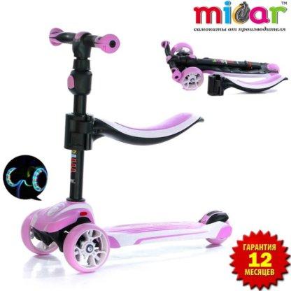 Трёхколёсный самокат с сиденьем и светящимися колёсами Scooter Micar Moby 3 в 1 Розовый, для детей от 1 до 8 лет - 1