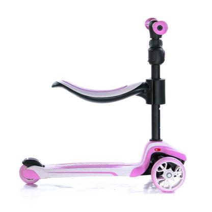 Трёхколёсный самокат с сиденьем и светящимися колёсами Scooter Micar Moby 3 в 1 Розовый, для детей от 1 до 8 лет - 12