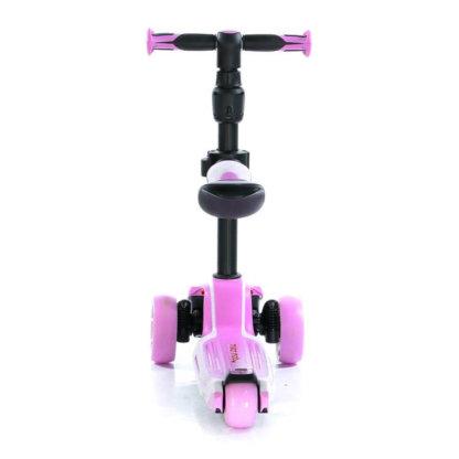 Трёхколёсный самокат с сиденьем и светящимися колёсами Scooter Micar Moby 3 в 1 Розовый, для детей от 1 до 8 лет - 2