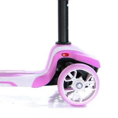 Трёхколёсный самокат с сиденьем и светящимися колёсами Scooter Micar Moby 3 в 1 Розовый, для детей от 1 до 8 лет - 6