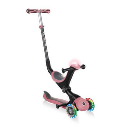 Globber GO UP Deluxe Play Lights Пастельно-розовый детский трёхколёсный самокат-беговел - 1