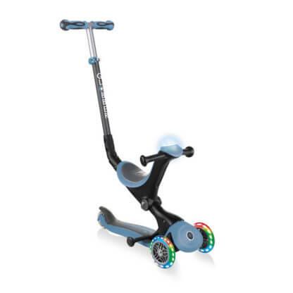 Globber GO UP Deluxe Play Lights Пастельно-синий детский трёхколёсный самокат-беговел - 1