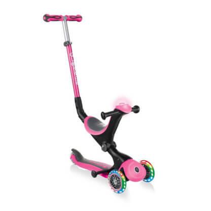 Globber GO UP Deluxe Play Lights Розовый детский трёхколёсный самокат-беговел - 1