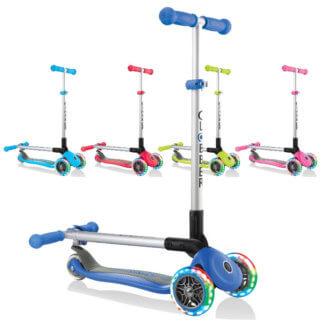 Трехколесные самокаты со складной ручкой и светящимися колёсами Globber Primo Foldable Lights