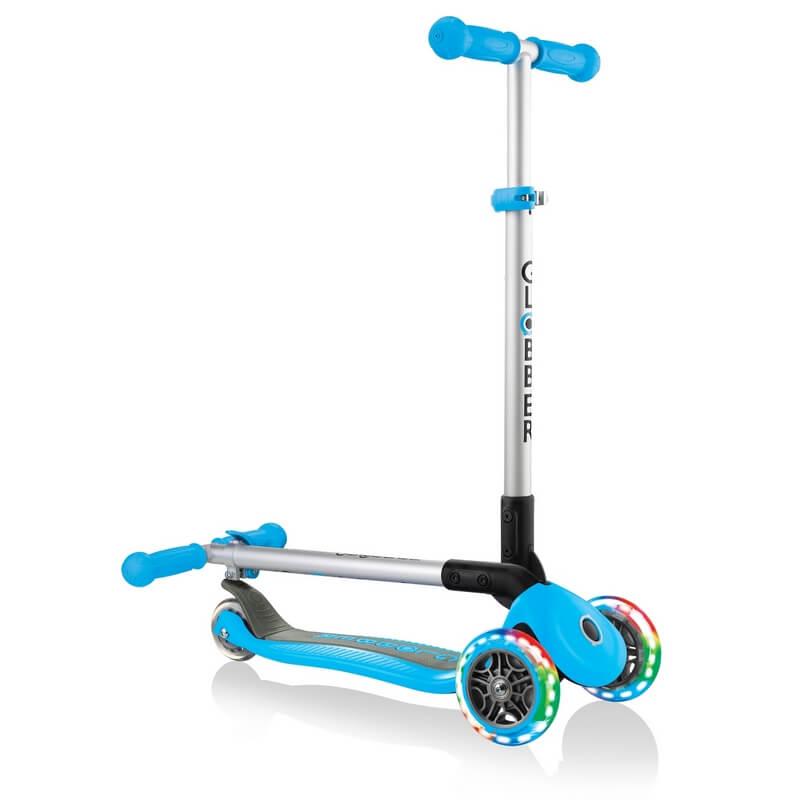 Трехколесный самокат со складной ручкой и светящимися колёсами Globber Primo Foldable Lights голубой - 1