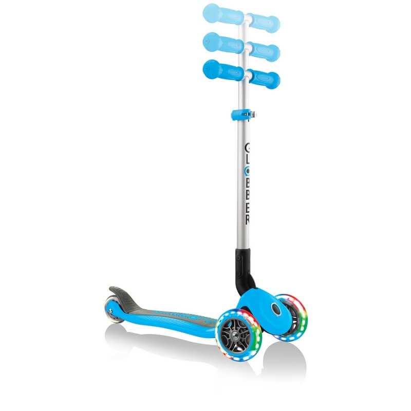 Трехколесный самокат со складной ручкой и светящимися колёсами Globber Primo Foldable Lights голубой - 2