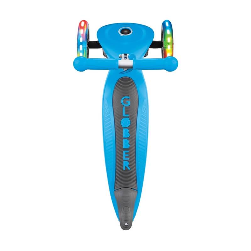 Трехколесный самокат со складной ручкой и светящимися колёсами Globber Primo Foldable Lights голубой - 4