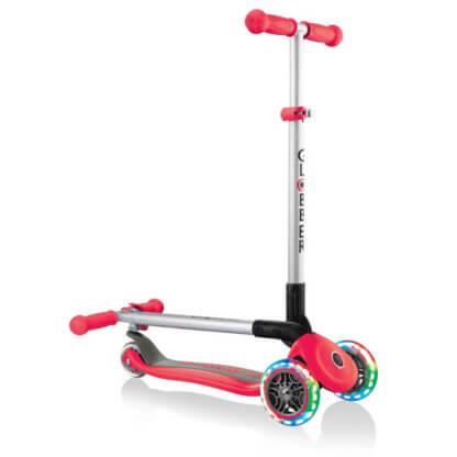 Трехколесный самокат со складной ручкой и светящимися колёсами Globber Primo Foldable Lights красный - 1