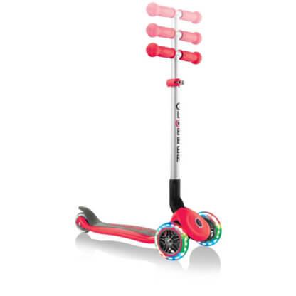 Трехколесный самокат со складной ручкой и светящимися колёсами Globber Primo Foldable Lights красный - 2