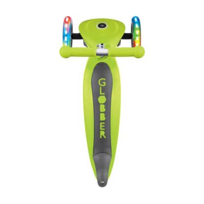 Трехколесный самокат со складной ручкой и светящимися колёсами Globber Primo Foldable Lights лайм - 4
