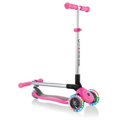 Трехколесный самокат со складной ручкой и светящимися колёсами Globber Primo Foldable Lights розовый - 1