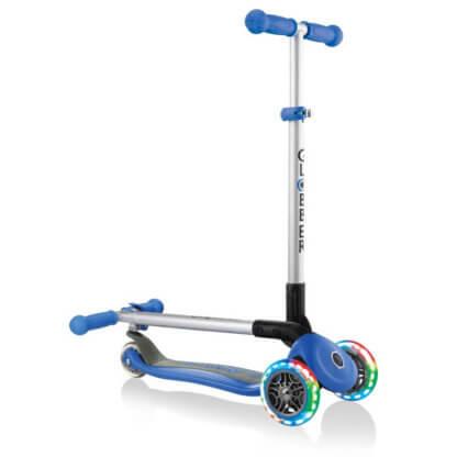 Трехколесный самокат со складной ручкой и светящимися колёсами Globber Primo Foldable Lights синий - 1