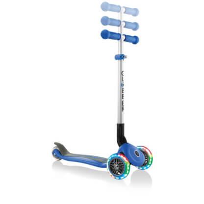 Трехколесный самокат со складной ручкой и светящимися колёсами Globber Primo Foldable Lights синий - 2