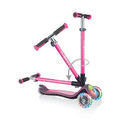 Детский самокат со складной ручкой, светящимися колёсами и подсветкой платформы Globber Elite Deluxe Flash Lights Розовый - 1