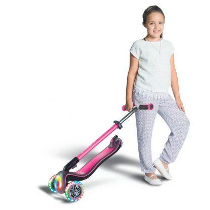 Детский самокат со складной ручкой, светящимися колёсами и подсветкой платформы Globber Elite Deluxe Flash Lights Розовый - 5