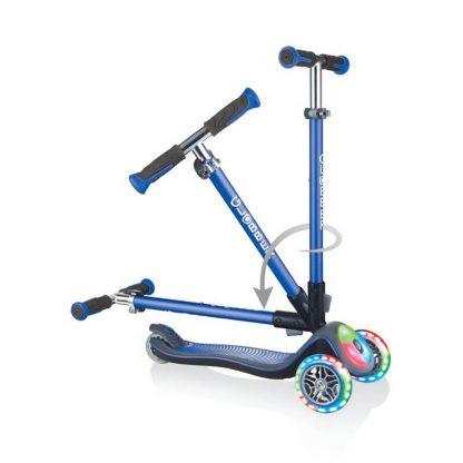 Детский самокат со складной ручкой, светящимися колёсами и подсветкой платформы Globber Elite Deluxe Flash Lights Синий - 1