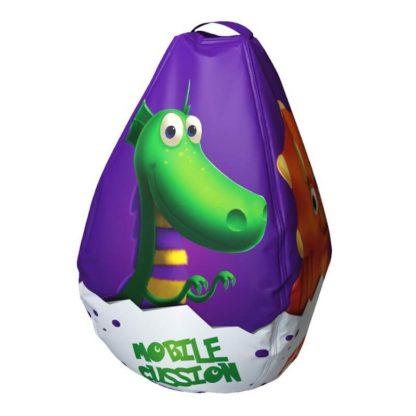 Мешок-рюкзак-подушка, спинка для тюбингов ST4, Small Rider Bags Динозаврики Фиолетовый - 3