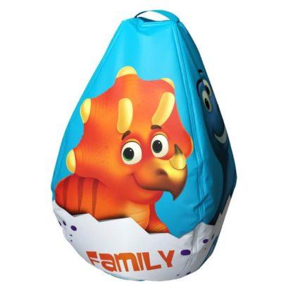 Мешок-рюкзак-подушка, спинка для тюбингов ST4, Small Rider Bags Динозаврики Голубой - 2