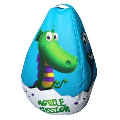 Мешок-рюкзак-подушка, спинка для тюбингов ST4, Small Rider Bags Динозаврики Голубой - 3