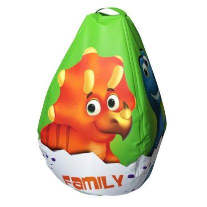 Мешок-рюкзак-подушка, спинка для тюбингов ST4, Small Rider Bags Динозаврики Зелёный - 2