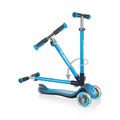 Трехколесный самокат со складной ручкой и светящимися колёсами Globber Elite Deluxe Lights Голубой - 3