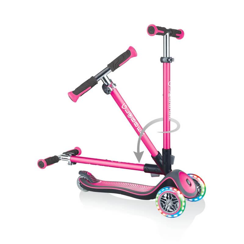 Трехколесный самокат со складной ручкой и светящимися колёсами Globber Elite Deluxe Lights Розовый - 3