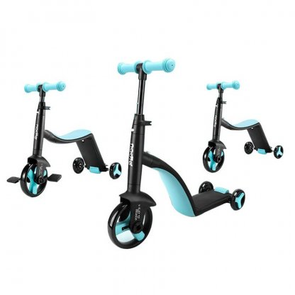 Трёхколёсный самокат-беговел-велосипед Nadle 3 в 1 - Голубой - 2