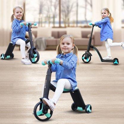 Трёхколёсный самокат-беговел-велосипед Nadle 3 в 1 - Голубой - 3