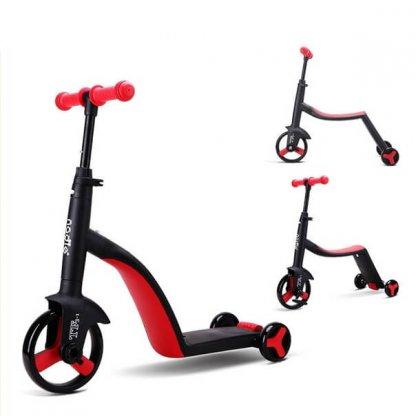 Трёхколёсный самокат-беговел-велосипед Nadle 3 в 1 - Красный - 1