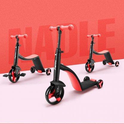Трёхколёсный самокат-беговел-велосипед Nadle 3 в 1 - Красный - 2
