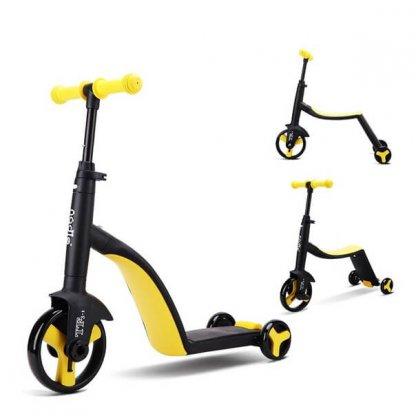 Трёхколёсный самокат-беговел-велосипед Nadle 3 в 1 - Жёлтый - 1