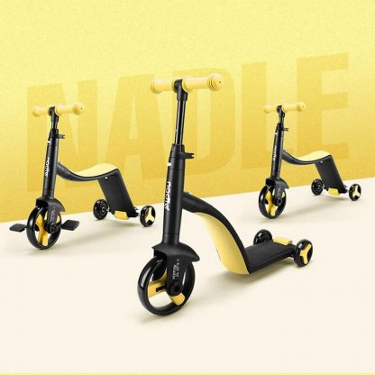 Трёхколёсный самокат-беговел-велосипед Nadle 3 в 1 - Жёлтый - 2