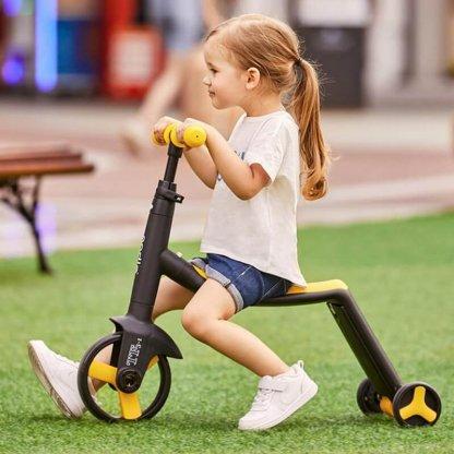 Трёхколёсный самокат-беговел-велосипед Nadle 3 в 1 - Жёлтый - 4