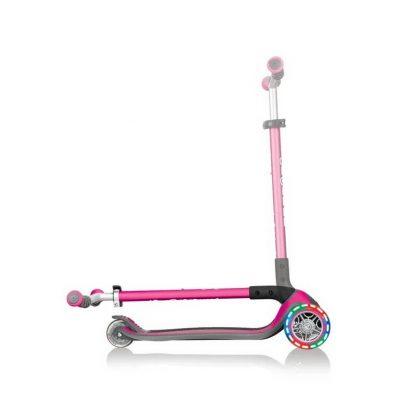 Трёхколёсный самокат со складной ручкой и светящимися колёсами Globber Master Lights Розовый 662-110 - 3