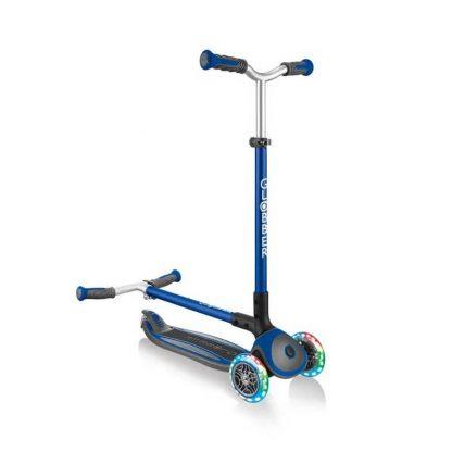 Трёхколёсный самокат со складной ручкой и светящимися колёсами Globber Master Lights Синий 662-100 - 1