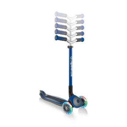 Трёхколёсный самокат со складной ручкой и светящимися колёсами Globber Master Lights Синий 662-100 - 2